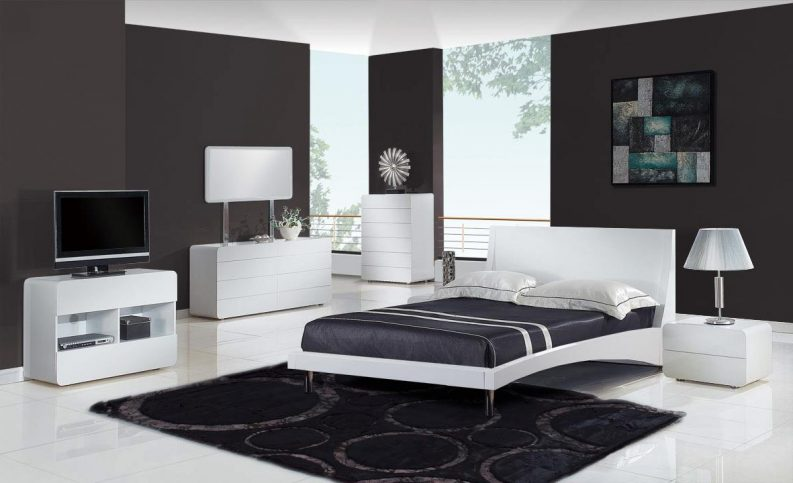 black-and-white-bedroom-decor-rustic-bedside-cabinets-webb-brown-neaves-grayson-bedroom-abstract-wall-art-painting-square-soft-foam-mattress-white-two-tube-night-stand-lamp-793x483