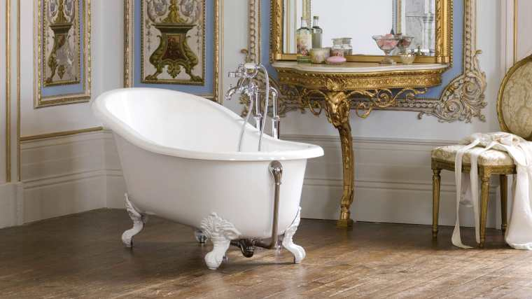 Bathtub with legs / oval / stone resin